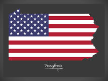 Pennsylvania map with American national flag illustration Stock Image