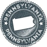 Pennsylvania map vintage stamp. Retro style handmade label, badge or element for travel souvenirs. Dark blue rubber stamp with us state map silhouette. Vector Royalty Free Stock Images
