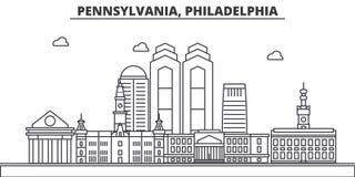 Pennsylvania, Philadelphia architecture line skyline illustration. Linear vector cityscape with famous landmarks, city Royalty Free Stock Photos