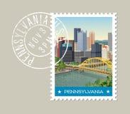 Pennsylvania postage stamp design. Vector illustration. Royalty Free Stock Photo