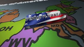 Pennsylvania pull out from USA states abbreviations map stock footage