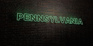 PENNSYLVANIA -Realistic Neon Sign on Brick Wall background - 3D rendered royalty free stock image Stock Photo