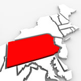 Pennsylvania Red Abstract 3D State Map United States America. A red abstract state map of Pennsylvania, a 3D render symbolizing targeting the state to find its Stock Photography
