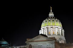 Pennsylvania State Capitol Building Dome at Night.  Royalty Free Stock Image