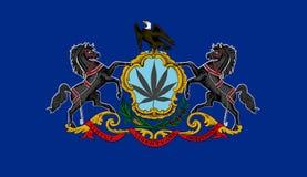 Pennsylvania state flag with marijuana leaf Royalty Free Stock Images