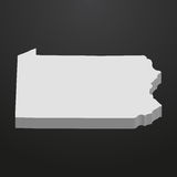 Pennsylvania State map in gray on a black background 3d Royalty Free Stock Photography