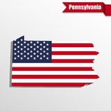 Pennsylvania State map with US flag inside and ribbon Royalty Free Stock Images