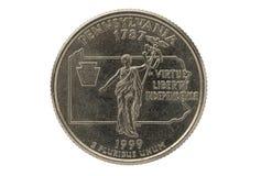 Pennsylvania State Quarter Coin Stock Photo