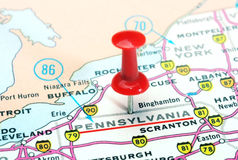 Pennsylvania state USA map. Close up of Pennsylvania state USA map with red pin - Travel concept stock photo