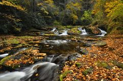 Pennsylvania Stream In Autumn. Autumn along Dingmans Creek - Delaware Water Gap National Park, Pennsylvania Stock Photos