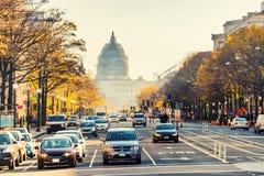 Pennsylvania street in Washington DC. Pennsylvania street and US Capitol in Washington DC, USA Royalty Free Stock Photography
