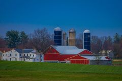 Pennsylvania, USA, APRIL, 18, 2018: Oudoor view of typical Amish farm in Lancaster county in Pennsylvania USA without stock image