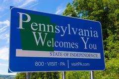 Pennsylvania välkomnar dig tecknet Arkivfoto