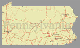 Pennsylvania vector accurate high detailed State Map with Commun Royalty Free Stock Photography