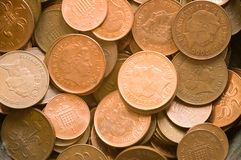 Penny and 2 pence coins. One penny and 2 pence coins suitable for background Royalty Free Stock Image