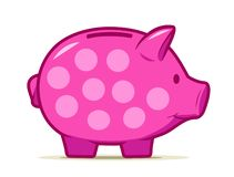 Cute pink piggy bank with dotted design. Drawing of isolated money container in shape of nice pig. royalty free stock photo