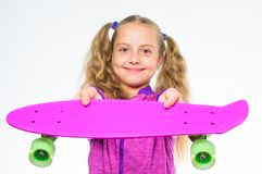 Penny board of her dream. Best gifts for kids. Ultimate gift list help pick perfect present for girl. Kid long hair. Carry penny board. Plastic skateboards for stock image