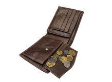Penny in a brown wallet. On a white background stock photo