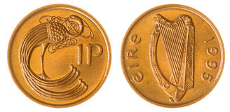 1 penny 1995 coin isolated on white background, Ireland Stock Image