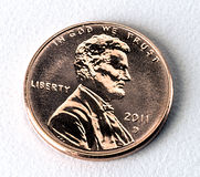 Penny. Copper on white background Stock Photos