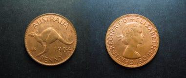 Penny d'Australien d'en cuivre de vintage de pièces de monnaie photo stock