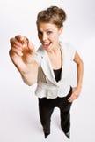 penny de fixation de femme d'affaires Photographie stock libre de droits
