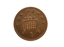 Penny English. Dark coin, in cost one English of a penny ( isolated royalty free stock photos