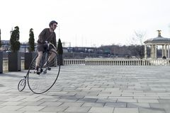 Penny Farthing Bicycle em Philadelphfia fotos de stock