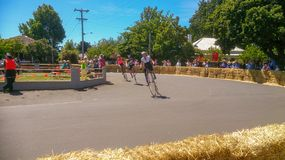 Penny farthing bike racing festival royalty free stock image