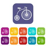 Penny-farthing icons set Royalty Free Stock Images