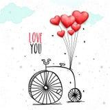 Penny Farthing para la celebración del día del ` s de la tarjeta del día de San Valentín Fotos de archivo libres de regalías