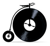 Penny Farthing With Vinyl Records Royalty Free Stock Photo