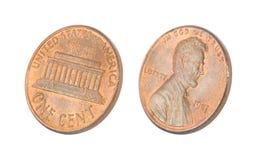 Penny getrennt auf Weiß Stockfoto