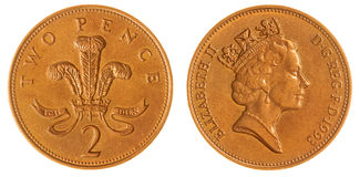 2 penny 1993 inventent d'isolement sur le fond blanc, Grande-Bretagne Photos stock