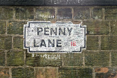 Penny Lane Sign in Liverpoool Royalty Free Stock Photography