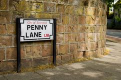 Penny lane street in Liverpool, Beatles song. Stock Images