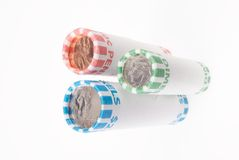 Penny Nickel Dime Rolls. One Roll Each of Pennies Nickels and Dimes Stock Images