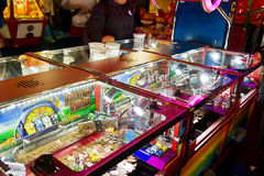 Penny pusher game in a games arcade Stock Photo