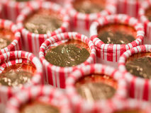 Penny Rolls Lined Up in a Box Stock Photos