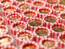 Penny Rolls Lined Up in a Box Stock Photography