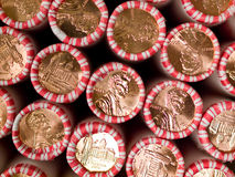 Penny Rolls Lined Up in a Box Royalty Free Stock Images