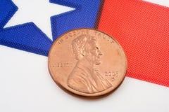 Penny su una bandierina fotografia stock libera da diritti