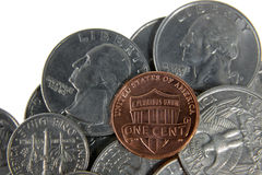 Penny on US Coins Stock Images