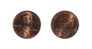 Penny on a white background. Front and back of penny on the dollar on a white background royalty free stock image