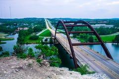 Pennybacker 360桥梁天时间长的曝光 免版税库存照片