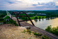 Pennybacker 360 Bridge right after sunset Stock Photos