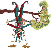 Pennyfool. Editorial image of a fool hanging from a tree branch upside down with his pockets emptying stock illustration