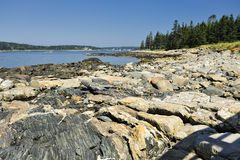 Penobscot Bay, Marshall Point, Maine, USA. Wide angle view of Penobscot Bay and rock outcropping seen from Marshall Point in Port Clyde, St. George Peninsula, ME Royalty Free Stock Photo