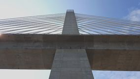 Penobscot Narrows Bridge at Fort Knox in Prospect, Maine.  Observatory at top of the west tower. View underneath the bridge. Penobscot Narrows Bridge at Fort royalty free stock photography