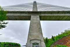 Penobscot Narrows Bridge - Maine. The Penobscot Narrows Bridge is a 2,120 feet (646 m) long cable-stayed bridge over the Penobscot River in Maine Royalty Free Stock Photography